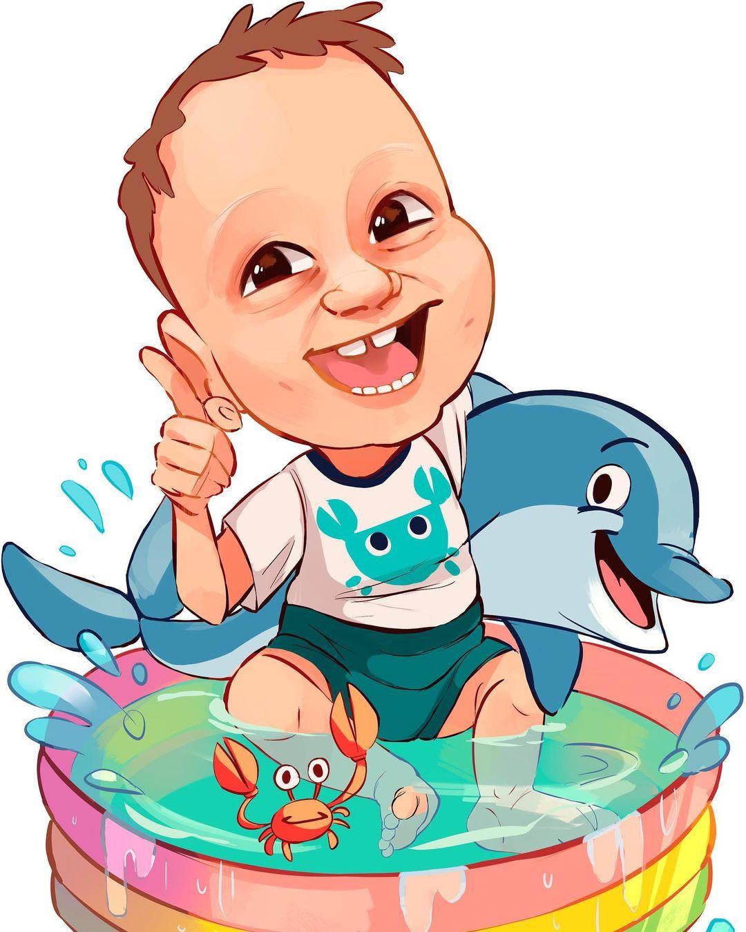 Caricatura personalizada niño piscina