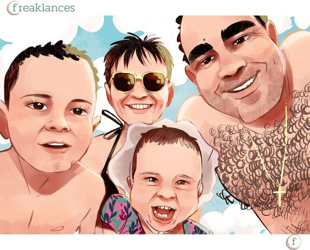 Caricatura Personalizada Familia