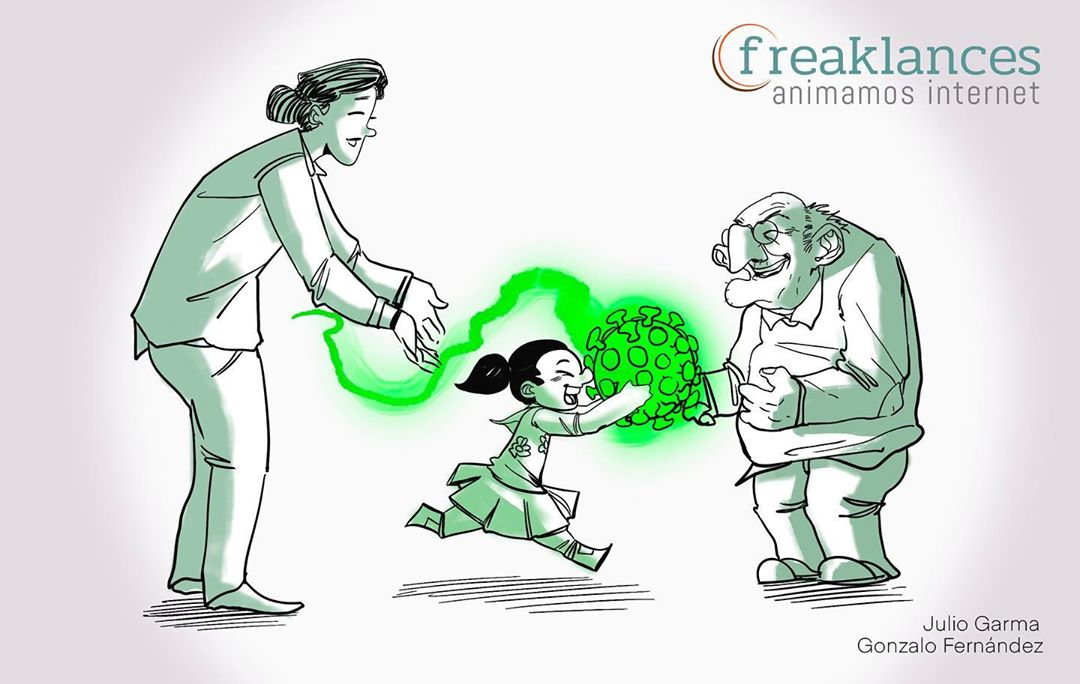 Ilustración Caricatura Virus