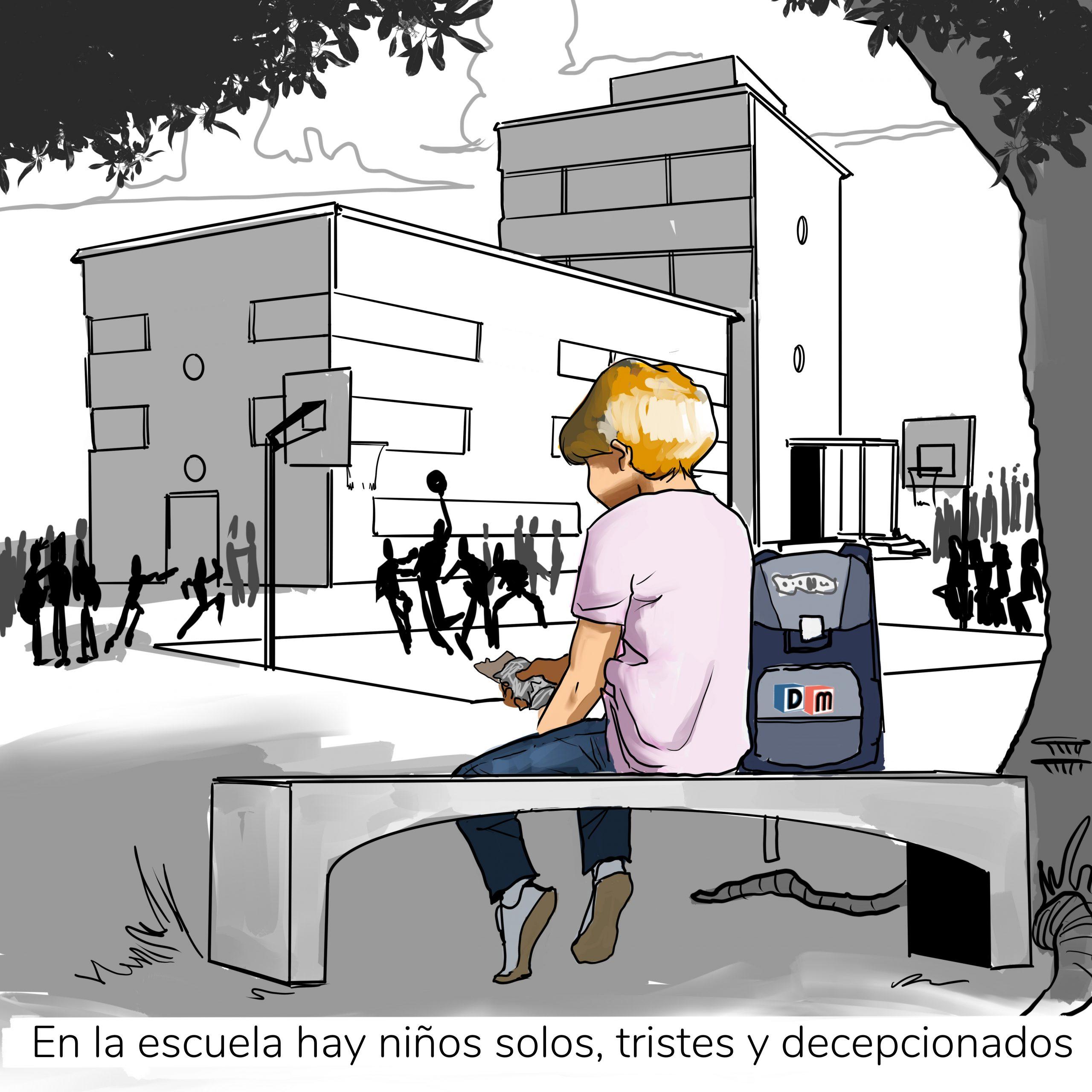 David Mora_Viñeta 17_En la escuela hay niños solos, tristes y decepcionados