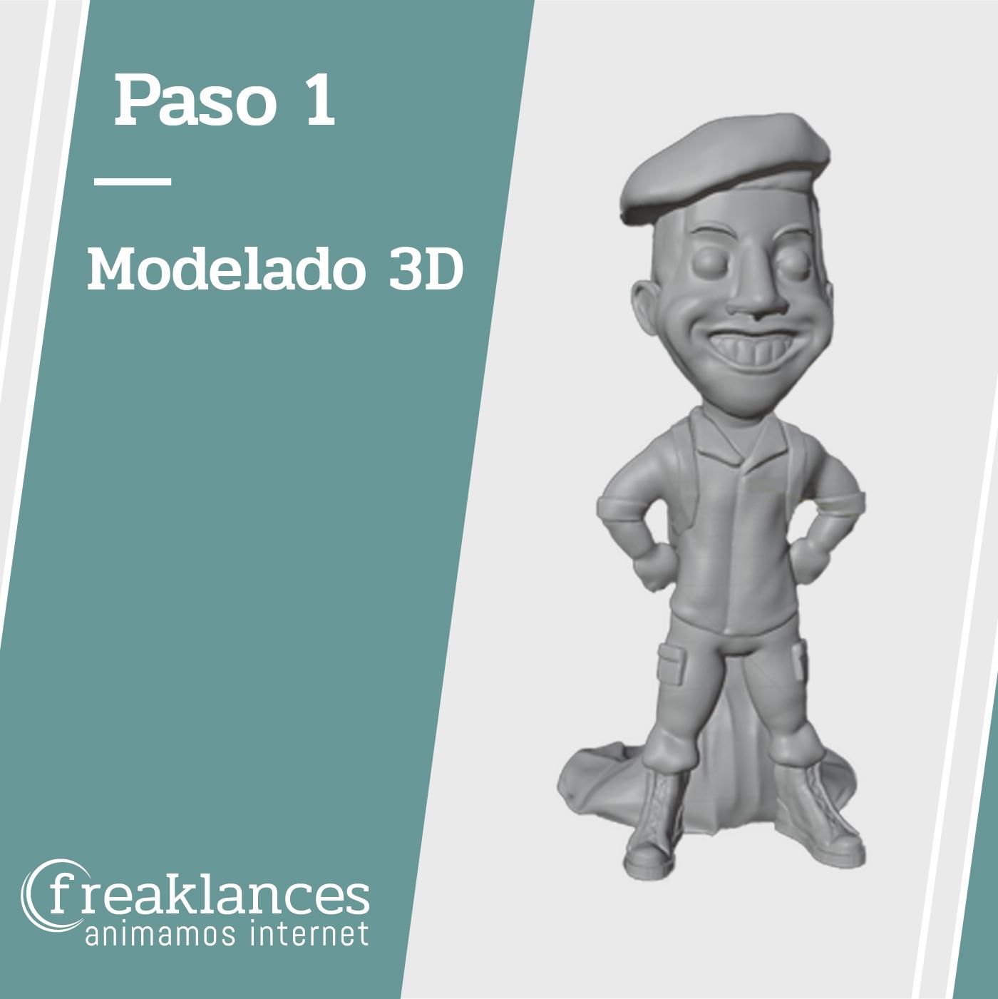 Modelado 3D figura Paracaidista