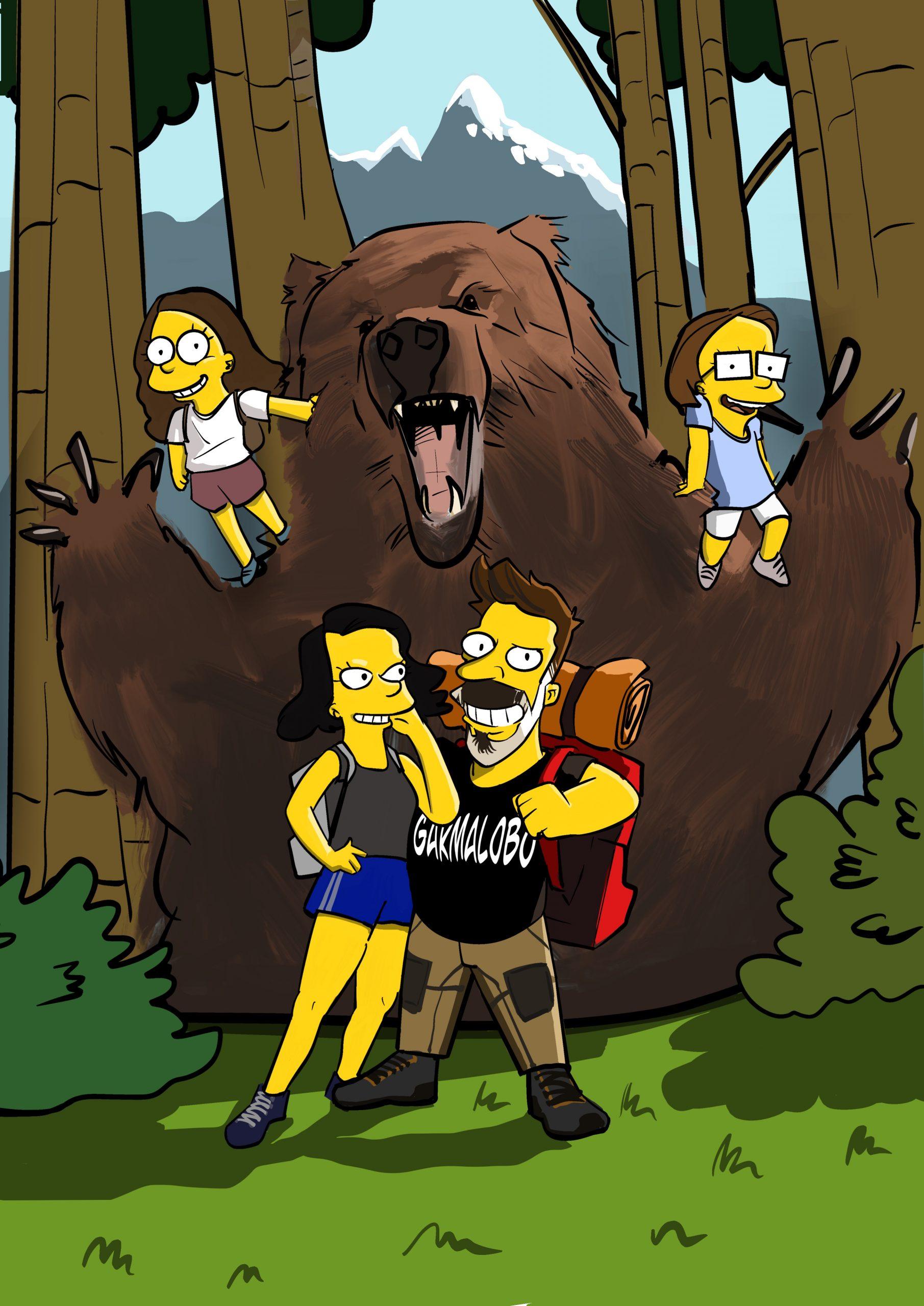 Caricatura Familia Garma Lobo los Simpson